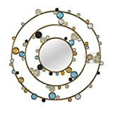 Round Metal Wall Mirror with Crystals Diamond Accents