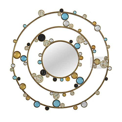 Decorative Round Metal Wall Mirror Circle Framed Blue Yellow Crystals Diamond Accents -