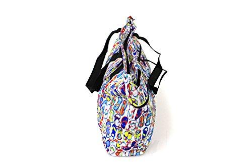 Hawaiian Print Double Zipper Tote Bag in Flip FLops ganz vorbei in Weiß