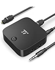 TaoTronics Adaptateur Bluetooth 5.0 Émetteur et Récepteur 2-en-1, Transmetteur Bluetooth 5.0, 15 Heures d'Autonomie Optique Digital TOSLINK et Adaptateur Audio sans Fil 3.5mm AptX Basse Latence