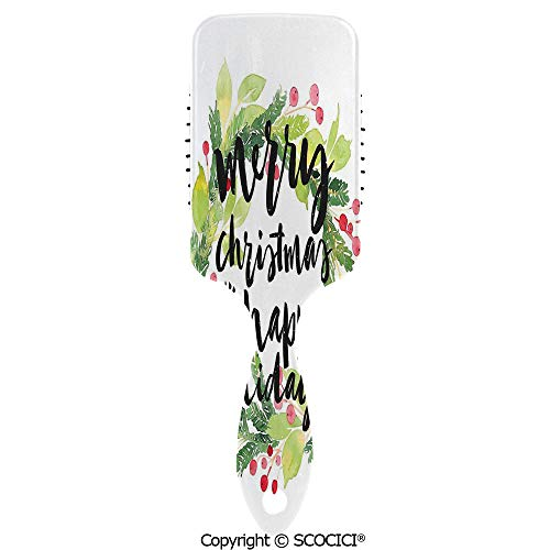 (Hair Brush for Women Girls New Year and Happy Holiday Rustic Wreath Berries and Evergreen Image Hairbrush Air cushion comb for Long, Thick, Curly, Wavy, Dry or Damaged Hair )