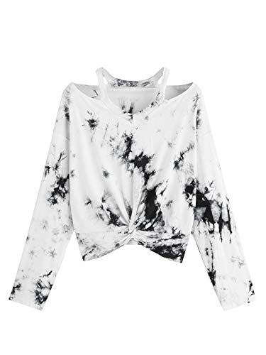 Verdusa Women's Tie Dye Cut Out Twist Front Crop Tee Top Multicolor ()