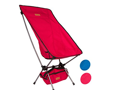 Trekology Compact Portable High Back Camping Chair with Head Rest - Ultralight Backpacking Chair in a Bag for Camping, Beach, Backpacking, Fishing, Picnic, Patio, Sports, Events (Red)