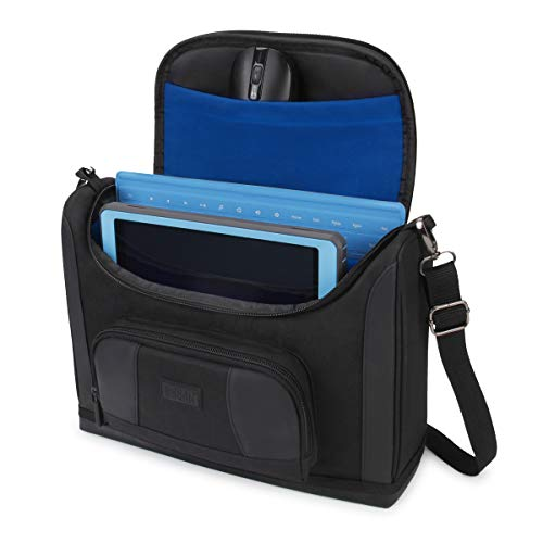 USA Gear Compact Tablet Messenger Bag Compatible with Galaxy Tab S4 10.5, Galaxy Book 10.6, Galaxy Tab A 10.1 with Durable Exterior, Shoulder Strap, Padded Adjustable Interior Dividers (Blue)