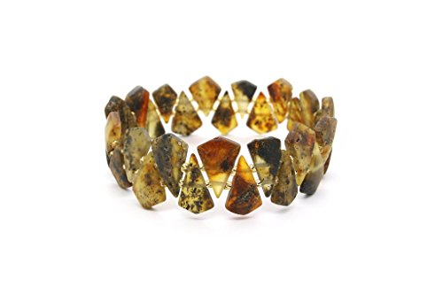 Genuine Natural Baltic Green Amber Stretch Bracelet For Women