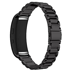 Maxjoy Samsung Gear Fit 2 Band, Milanese Loop Replacement Bands Stainless Steel Bracelet Metal Strap with Magnet Clasp for Samsung Gear Fit2 SM-R360 Smart Watch, Black
