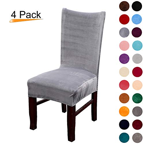 Colorxy Velvet Spandex Fabric Stretch Dining Room Chair Slipcovers Home Decor Set of 4, Silver Grey