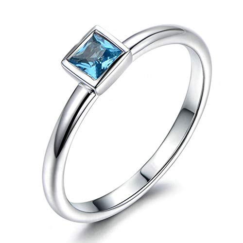 (Adisaer-Engagement Ring 925 Sterling Silver Plated Solitaire for Women WH 4X4Mm Square Blue Topaz Ring Size 11)