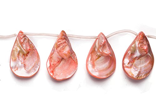 - Coral Pink Mother-Of-Pearl Teardrop Nacre Mop Shell Beads Size:30x22mm