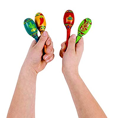 Fun Express Wooden Fiesta Maracas - 12 Pieces - Educational and Learning Activities for Kids: Toys & Games