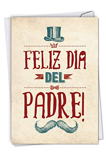 Feliz Día del Padre - Spanish Fathers Day Note Card with Envelope (4.63 x 6.75 Inch) - Top Hat and Mustache, Retro Fathers Day Card from Kids - Dads Day Gift, Stationery Greeting Notecard C6756FDG-SL -