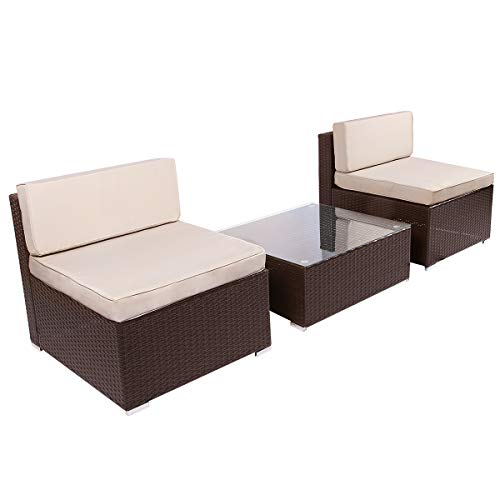 U-MAX 3 Piece Patio PE Rattan Wicker Sofa Set Outdoor Sectional Furniture Chair Set with Cushions and Tea Table, Brown