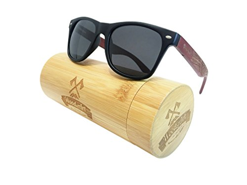 WoodofArt Wood Polarized Sunglasses For Men And Women Wayfarer Shades With Wooden Case (Black, - Polarized Sunglasses Cool