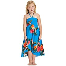 Girl Hawaiian Butterfly Dress in Hibiscus Floral Colorful in Turquoise Blue