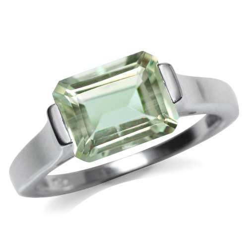3.14ct. Natural Green Amethyst 925 Sterling Silver Solitaire Ring Size 8