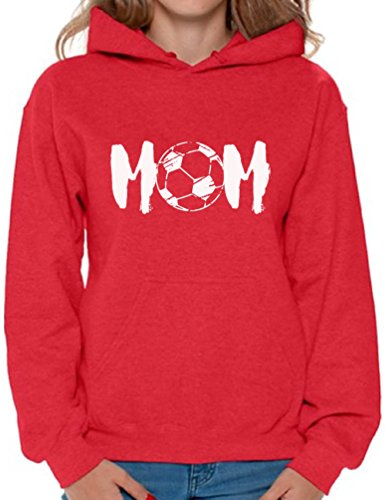 (Awkward Styles Women's Soccer MOM Motherhood Graphic Hoodie Tops White Sport Mom Gift Idea Red M)