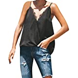 Corriee Fashion Camisole for Women Vest Summer Casual V-Neck Lace Splice Solid Color Sleeveless Blouse Tank Tops Black