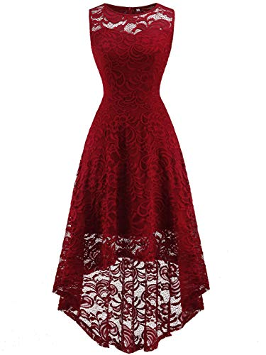 - FAIRY COUPLE Women's Vintage Floral Lace Hi-Lo Sleeveless Cocktail Formal Swing Dress DL022A (S,Burgundy)