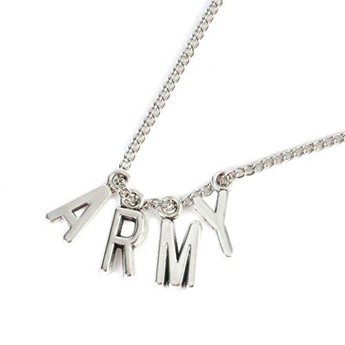 Quaanti Kpop ARMY Necklace Women Men Jewelry Collier Korea Fashion BTS Album Love Yourself Accessories 2018 (sliver) ()