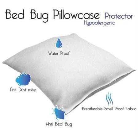 Aaf Textiles Waterproof Non noisy Pillow Protector Pair Anti Allergy Hypollaergenic Bed Bug Proof Zippered