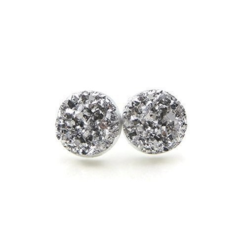 Metallic Silver-Tone, Faux Druzy Stone Studs Plastic Post Earrings, 12mm