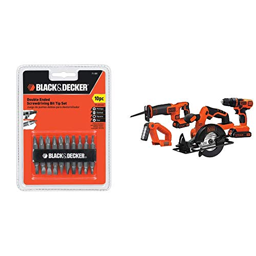 (Black & Decker 71-081 Double Ended Screwdriving Bit Set, 10-Piece with Black & Decker BD4KITCDCRL 20V MAX Drill/Driver Circular and Reciprocating Saw Worklight Combo Kit)