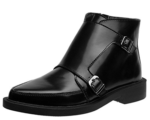 Leather Buckle Boots Shoes Two u T Black k Jam 0xFwq