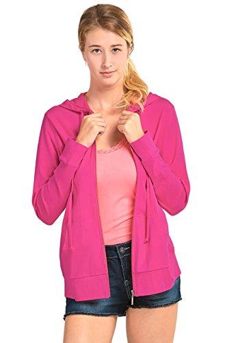 Zip Up Hoodie Jacket (M, Fuchsia) ()