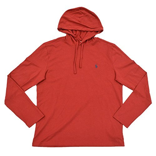 Polo Ralph Lauren Mens Jersey Knit Hoodie Tee (Large, Red)