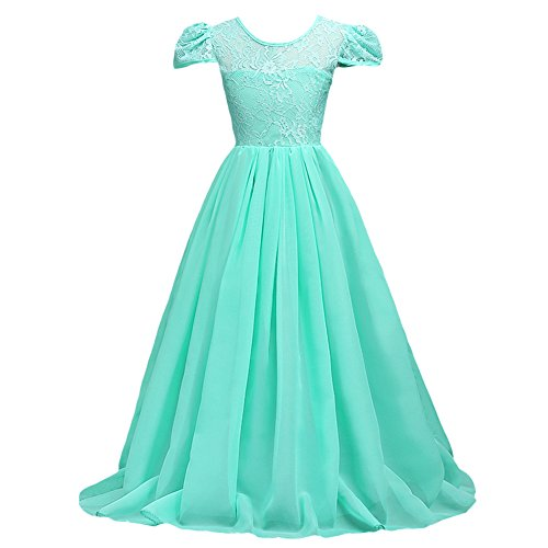 IBTOM CASTLE Flower Girls Junior Bridesmaid Long Chiffon Lace Wedding Dress Pageant Graduation Teens Ceremony Dance Maxi Gown 7-16 Turquoise 11-12T (Tall Bridesmaid Dress)