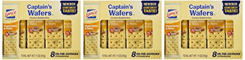 Lance, Captain's Wafers, Peanut Butter & Honey Wafers, 8 Count, 11oz Tray (Pack of 3)