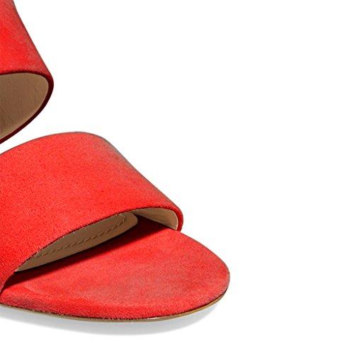 Kompani Kvinnor Dubbel Wraps Mules Skor Öppen Tå Mitten Klackar Halka På Sandaler För Komfort Storlek 4-15 Oss Röd