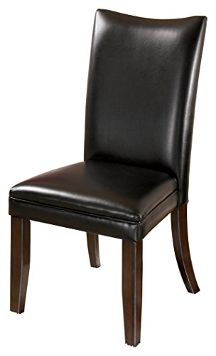 Ashley Furniture Signature Design - Charrell Dining Upholstered Side Chair - Curved Back - Set of 2 - Black by Signature Design by Ashley