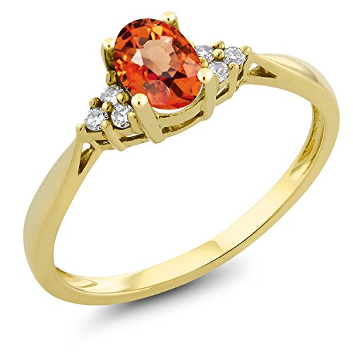 Gem Stone King 0.55 Ct Oval Orange Sapphire and Diamond 14K Yellow Gold Ring (Size 8)