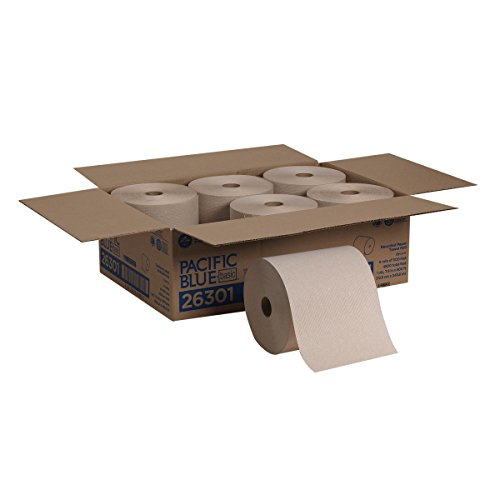 Pacific Blue Basic Recycled Hardwound Paper Towel Rolls (previously branded Envision) by GP PRO (Georgia-Pacific), Brown, 26301, 800 Feet Per Roll, 6 Rolls Per Case