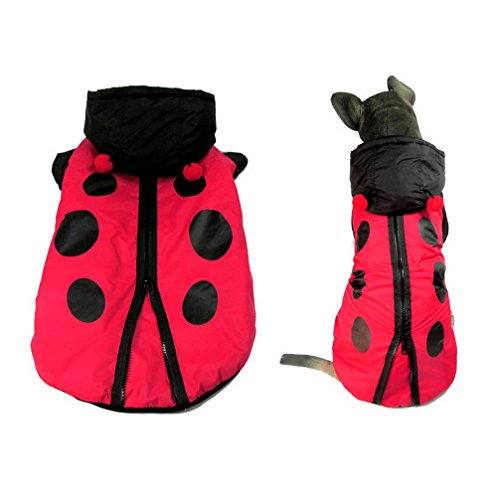 Ranphy Medium Dog Ladybug Warm Coat Hoodie Cold Weather Jacket Pet/Cat Costume Chihuahua Apparel 4XL -