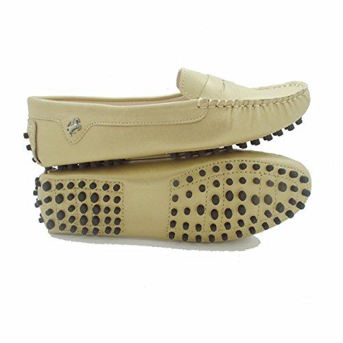 Goeao Womens Casual Luxe Lederen Rijden Klassieke Mocassins Instappers Loafers Bootschoenen Flats Champagne