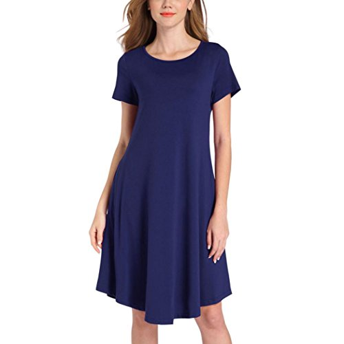 Price comparison product image Hot Sale!Clearance!Todaies Spring Dress Summer Women's Short Sleeve O Neck Dress Casual Solid Swing T-shirt Dresses (XL,  Blue)