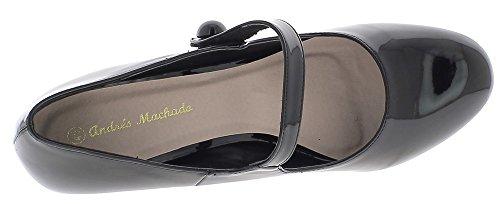 ChaussMoi Zapatos de Gran Tamaño Negro Tacones Delgados de Esmalte de Uñas de 10cm con Reborde