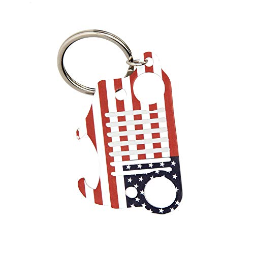EVAPLUS Car Key Chain Key Ring with Bottle Opener for Jeep Wrangler Accessories Enthusiasts-Jeep Front Grille Design and Stainless Steel Material American Flag