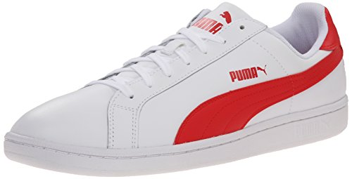 PUMA Men's Smash L Icon Athletic, White High Risk Red, 12 D US (Puma Icon)