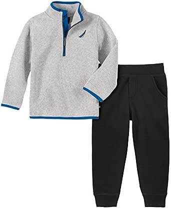 Nautica Boys 2 Pieces Sweater Pullover Pants Set Pants Set - Multi - 2T Gray/Black