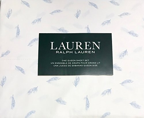 (Ralph Lauren 4 Piece Queen Sheet Set - Light Blue Falling Feather Leaves on White - 100% Cotton)