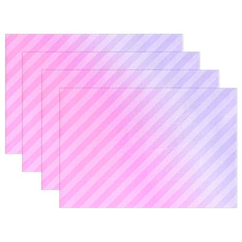 (JTMOVING Diagonal Pink Stripe Gradient Placemats Set Of 4 Heat Insulation Stain Resistant For Dining Table Durable Non-slip Kitchen Table Place Mats)