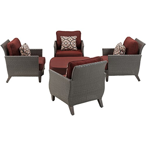 Hanover Savannah Chat Set (5-Piece) Crimson Red SAV-5PC-RED