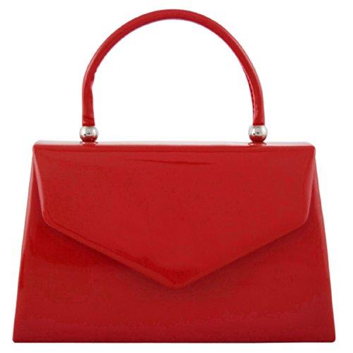 Party Red Retro fi9 Bridal Shoulder Wedding Clutch BNWT Purse Evening Handbag Leather Tote Hand Patent Bag nqqXzwrxZU