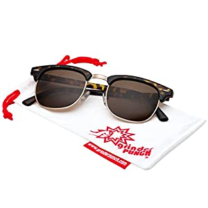 grinderPUNCH - Polarized Hamilton Premium Club Half Frame Sunglasses Tortoise