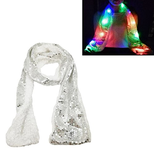 Luwint Colorful LED Flashing Scarf - Lights Up Rave Clothing Accessories Toys for Birthday Party Cosplay (Silver) -