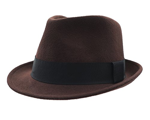 Wool Trilby Hat - Home Prefer Men's Wool Felt Winter Hat Short Brim Fedora Hat Large Coffee