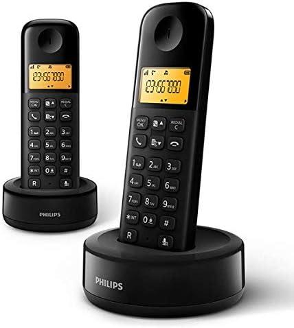 Philips D1602B/34 - Teléfono Fijo Inalámbrico (Retroiluminación, HQ-Sound, Hasta 4 Microteléfonos, Agenda 50 nombres y números, Consumo reducido Eco, Identificador de llamadas, Alcance 50m-300m) Negro: Amazon.es: Electrónica